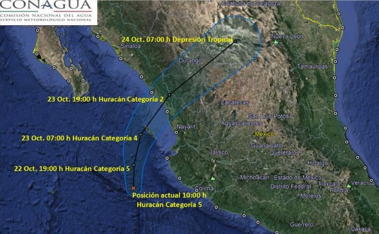 Huracán Willa alcanza categoría 5 para las costas del pacífico.
