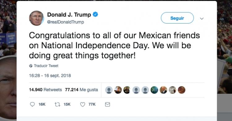 Donald Trump felicita a México por el día de la independencia