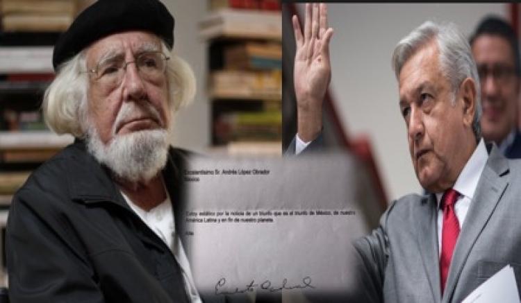 Ernesto Cardenal felicita a López Obrador a través de carta