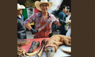 Morenista presume en redes sociales cocinar un cocodrilo