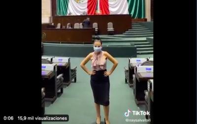Diputada de la 4T regresa a San Lázaro para grabar Tik toks