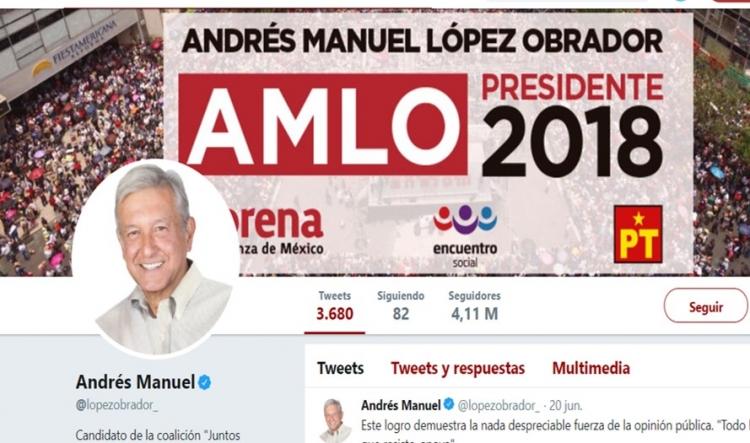 AMLO tiene más de un millón de followers falsos en twitter