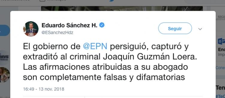Presidencia desmiente soborno del Chapo