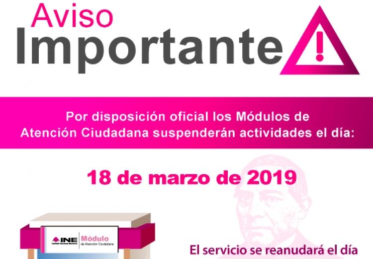 Este lunes INE suspenderá actividades de módulos de Atención Ciudadana