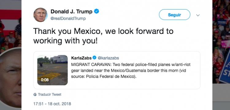 Trump agradece a México por enviar a policías a la frontera sur