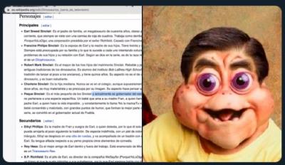 Trolean a Barbosa en Wikipedia; Ponen al Peque Sinclair como gobernante de Puebla