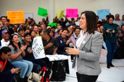 Claudia Rivera se reúne con trabajadores del sindicato Benito Juárez